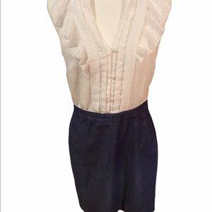 Loft White Top Denim Bottom Dress 6